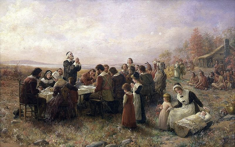 Colonial america timeline 1492 1763 period of early colonization the pilgrims celebrate the first thanksgiving at plymouth publicscrutiny Images