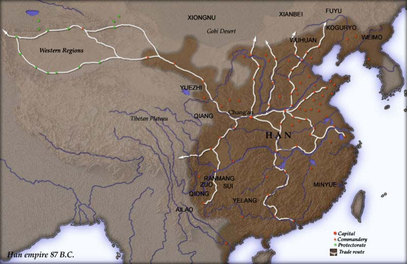 map of han dynasty in ancient china The Chinese Han Dynasty Geography Map map of han dynasty in ancient china