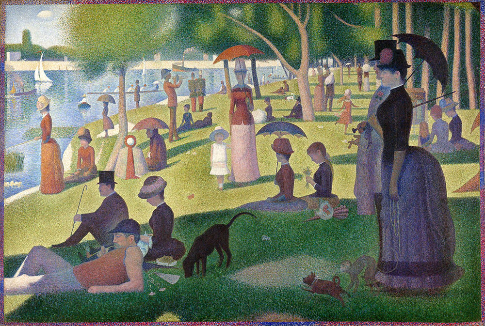 What is the medium of a sunday afternoon on the island of la grande jatte?