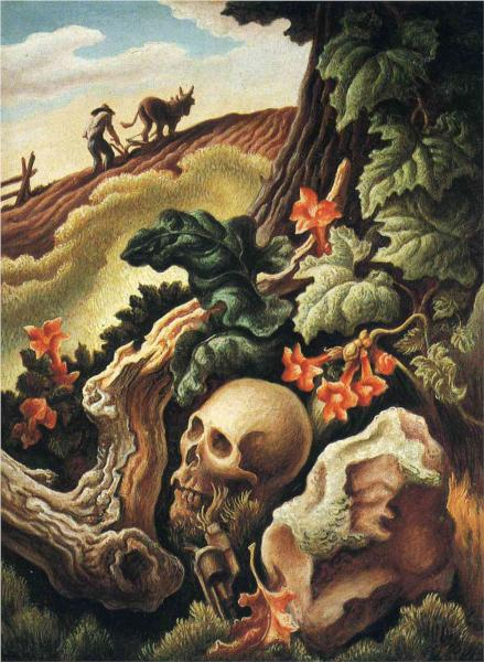 a literary analysis of cradling wheat by thomas hart benton Thomas hart benton (1889-1975) was one of a group of american artists who painted ordinary people in everyday settings his 1938 painting cradling wheat shows three men and a boy harvesting grain their bent backs engaged in toil are echoed in the shape of the hills behind them and suggest a close .