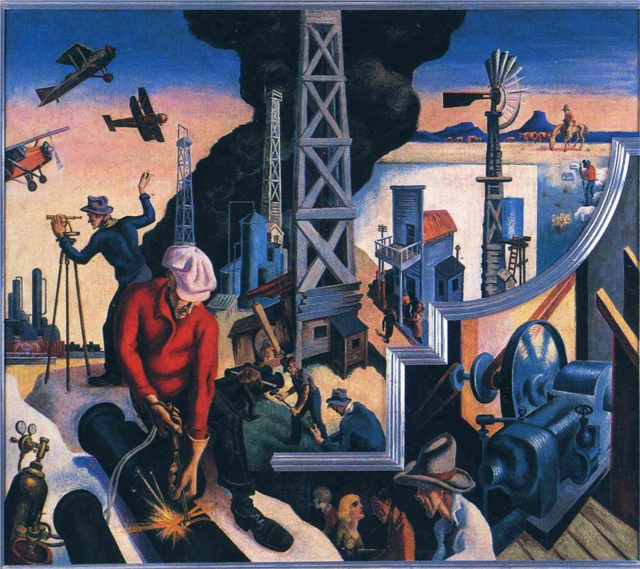 Thomas hart benton paintings gallery in chronological order for America today mural