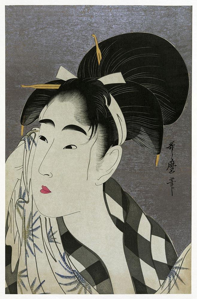 Ase_o_fuku_onna_Utamaro