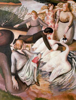 separating-fighting-swans-1933-by-spencer-sm