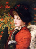 type-of-beauty-portrait-of-mrs-kathleen-newton-in-a-red-dress-and-black-bonnet-1880.-by-james-sm