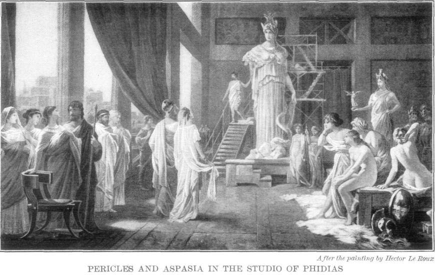 """the life and accomplishments of pericles """"and so aspasia, as some say, was held in high favor by pericles because of her rare political wisdom socrates sometimes came to see her with his disciples, and."""